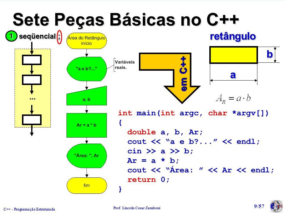 C++ - Programação Estruturada Prof. Lincoln Cesar Zamboni 9/57 Sete Peças Básicas no C++ retânguloretânguloaa bb int main(int argc, char *argv[]) { do