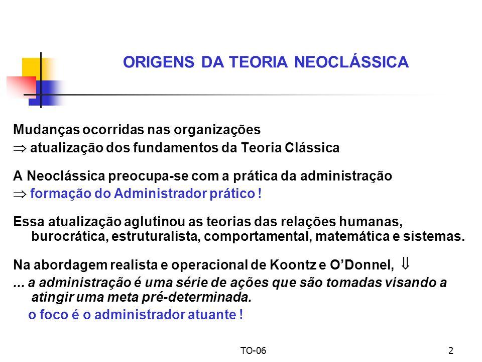 TO-062 Mudanças ocorridas nas organizações atualização dos fundamentos da Teoria Clássica A Neoclássica preocupa-se com a prática da administração formação do Administrador prático .