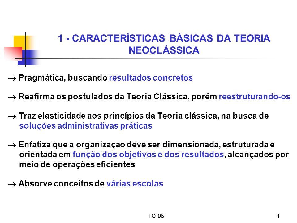 TO-064 Pragmática, buscando resultados concretos Reafirma os postulados da Teoria Clássica, porém reestruturando-os Traz elasticidade aos princípios da Teoria clássica, na busca de soluções administrativas práticas Enfatiza que a organização deve ser dimensionada, estruturada e orientada em função dos objetivos e dos resultados, alcançados por meio de operações eficientes Absorve conceitos de várias escolas 1 - CARACTERÍSTICAS BÁSICAS DA TEORIA NEOCLÁSSICA