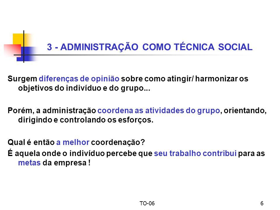 TO-066 3 - ADMINISTRAÇÃO COMO TÉCNICA SOCIAL Surgem diferenças de opinião sobre como atingir/ harmonizar os objetivos do indivíduo e do grupo...