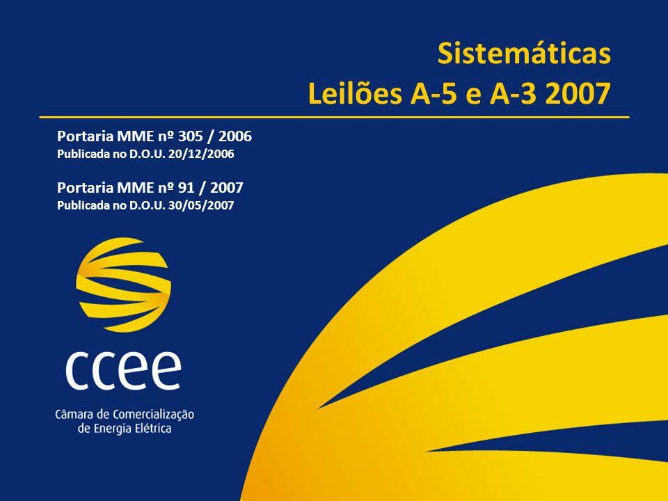 Sistemáticas Leilões A-5 e A-3 2007 Portaria MME nº 305 / 2006 Publicada no D.O.U. 20/12/2006 Portaria MME nº 91 / 2007 Publicada no D.O.U. 30/05/2007