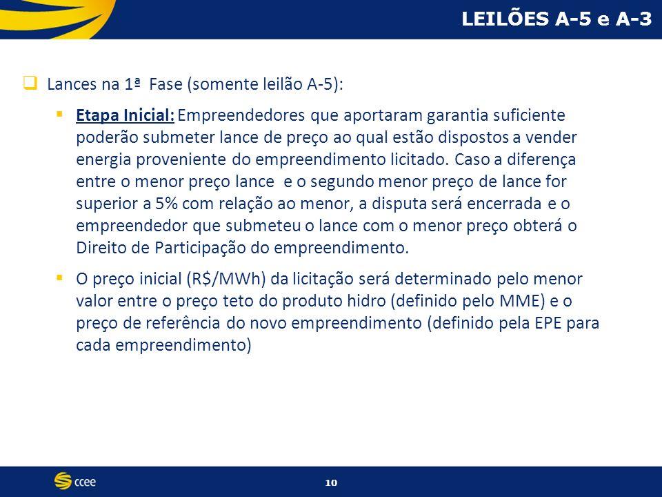 10 LEILÕES A-5 e A-3 Lances na 1ª Fase (somente leilão A-5): Etapa Inicial: Empreendedores que aportaram garantia suficiente poderão submeter lance de