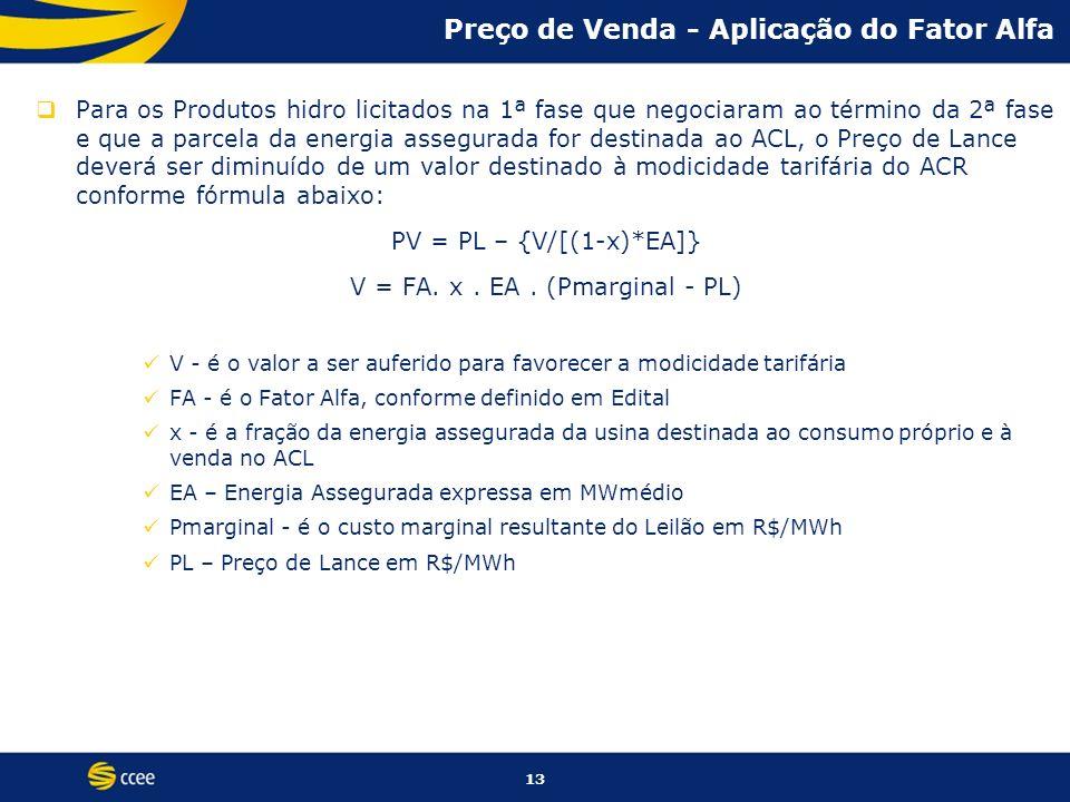 13 Preço de Venda - Aplicação do Fator Alfa Para os Produtos hidro licitados na 1ª fase que negociaram ao término da 2ª fase e que a parcela da energi