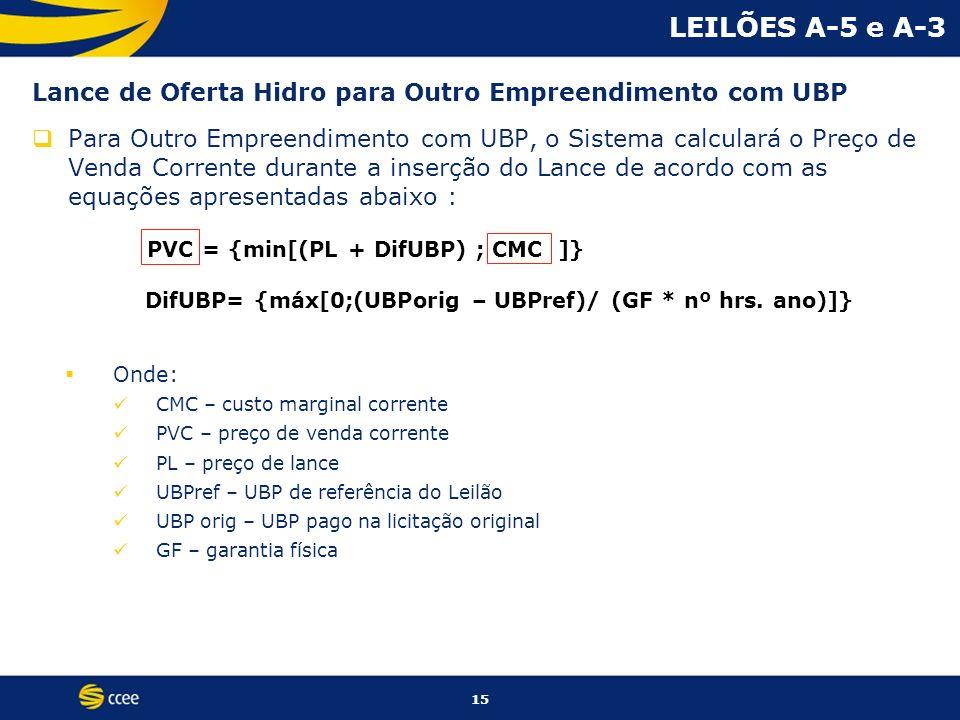 15 Lance de Oferta Hidro para Outro Empreendimento com UBP Para Outro Empreendimento com UBP, o Sistema calculará o Preço de Venda Corrente durante a