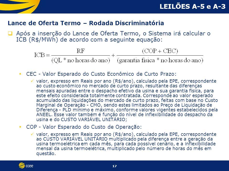 17 LEILÕES A-5 e A-3 Lance de Oferta Termo – Rodada Discriminatória Após a inserção do Lance de Oferta Termo, o Sistema irá calcular o ICB (R$/MWh) de