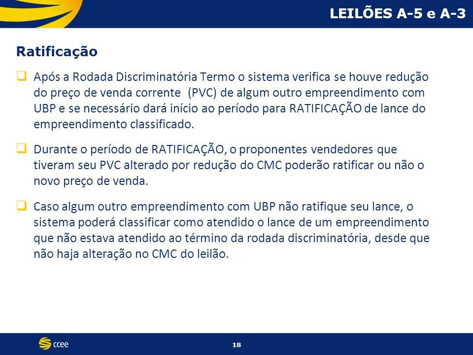 LEILÕES A-5 e A-3 Ratificação Após a Rodada Discriminatória Termo o sistema verifica se houve redução do preço de venda corrente (PVC) de algum outro