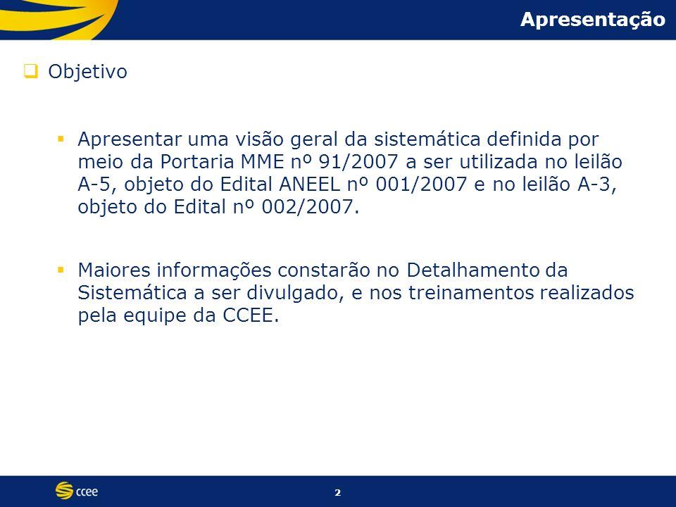 2 Apresentação Objetivo Apresentar uma visão geral da sistemática definida por meio da Portaria MME nº 91/2007 a ser utilizada no leilão A-5, objeto d