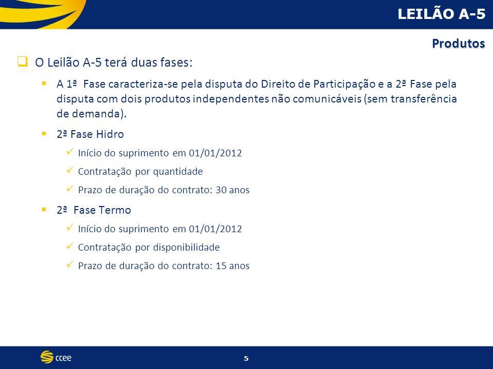 5 LEILÃO A-5 O Leilão A-5 terá duas fases: A 1ª Fase caracteriza-se pela disputa do Direito de Participação e a 2ª Fase pela disputa com dois produtos