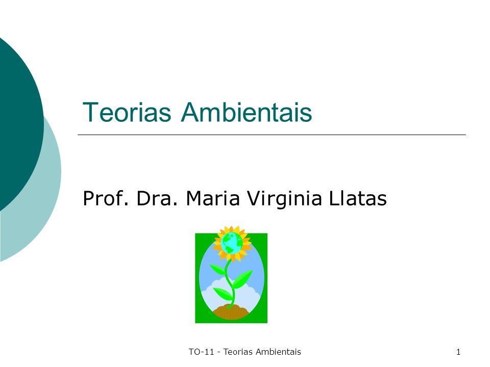 TO-11 - Teorias Ambientais1 Teorias Ambientais Prof. Dra. Maria Virginia Llatas