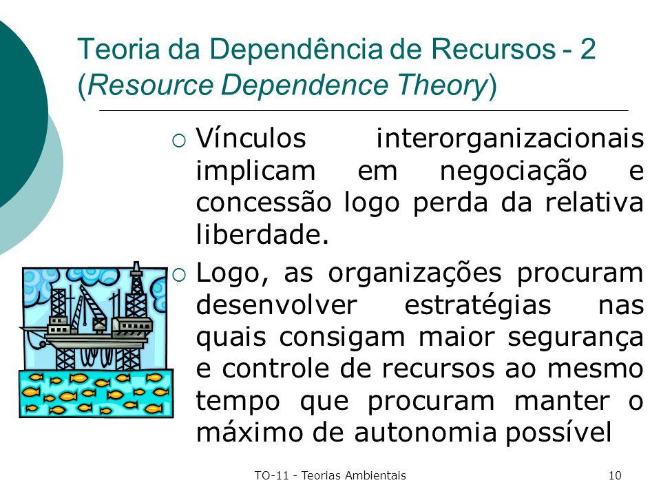 TO-11 - Teorias Ambientais10 Teoria da Dependência de Recursos - 2 (Resource Dependence Theory) Vínculos interorganizacionais implicam em negociação e