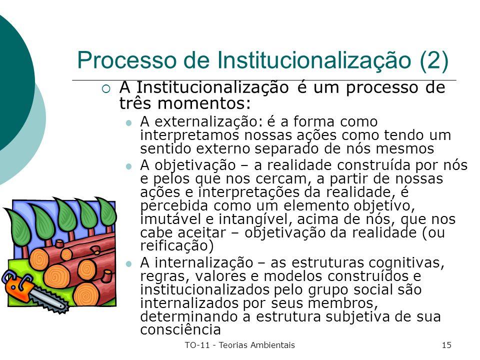 TO-11 - Teorias Ambientais15 Processo de Institucionalização (2) A Institucionalização é um processo de três momentos: A externalização: é a forma com