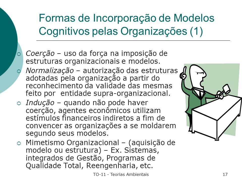 TO-11 - Teorias Ambientais17 Formas de Incorporação de Modelos Cognitivos pelas Organizações (1) Coerção – uso da força na imposição de estruturas org