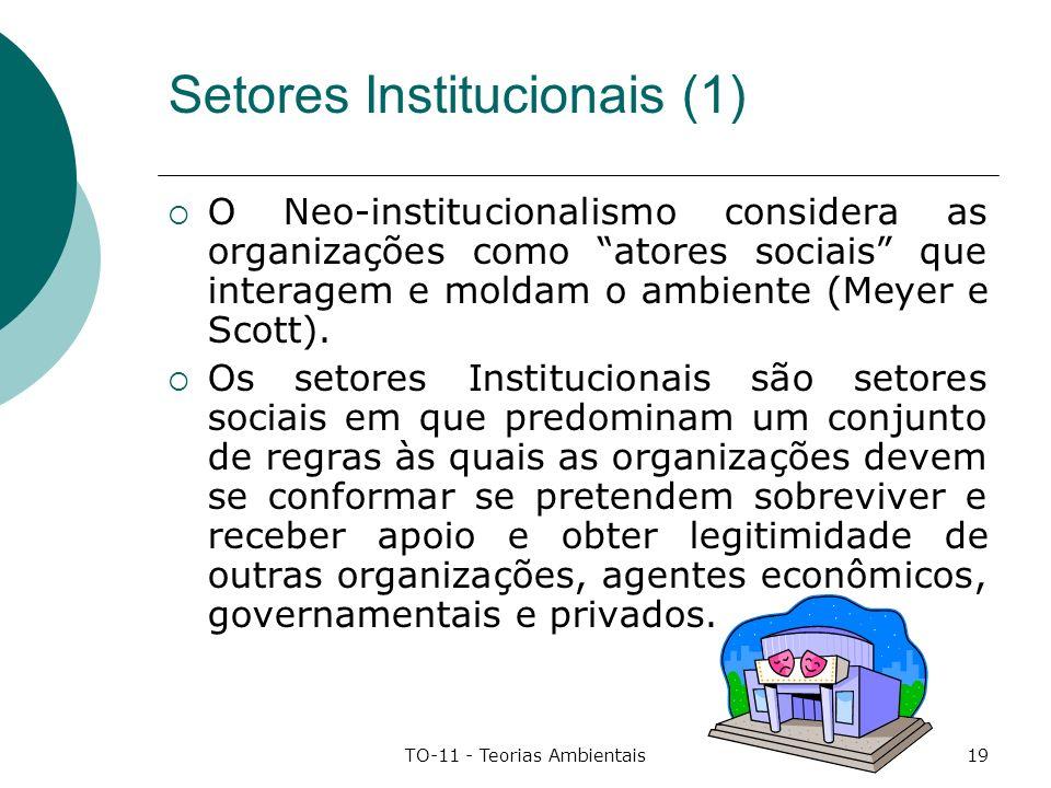 TO-11 - Teorias Ambientais19 Setores Institucionais (1) O Neo-institucionalismo considera as organizações como atores sociais que interagem e moldam o