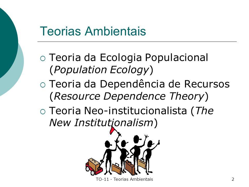 TO-11 - Teorias Ambientais3 Teoria da Ecologia Populacional Introdução(1) Meio ambiente Conjunto de forças externas que influenciam o modo pelo qual as organizações funcionam e obtêm recursos.