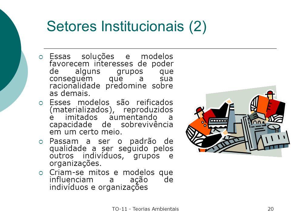 TO-11 - Teorias Ambientais20 Setores Institucionais (2) Essas soluções e modelos favorecem interesses de poder de alguns grupos que conseguem que a su