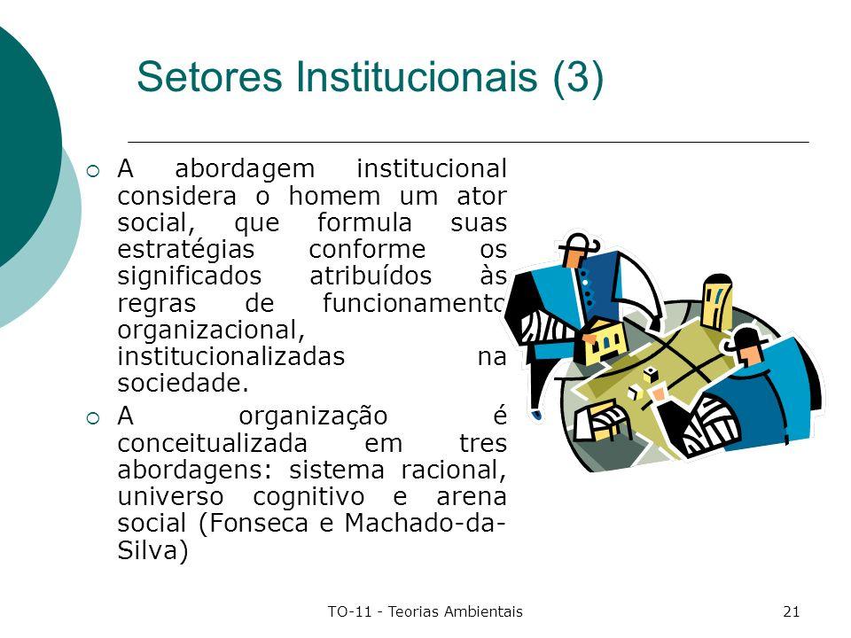 TO-11 - Teorias Ambientais21 Setores Institucionais (3) A abordagem institucional considera o homem um ator social, que formula suas estratégias confo