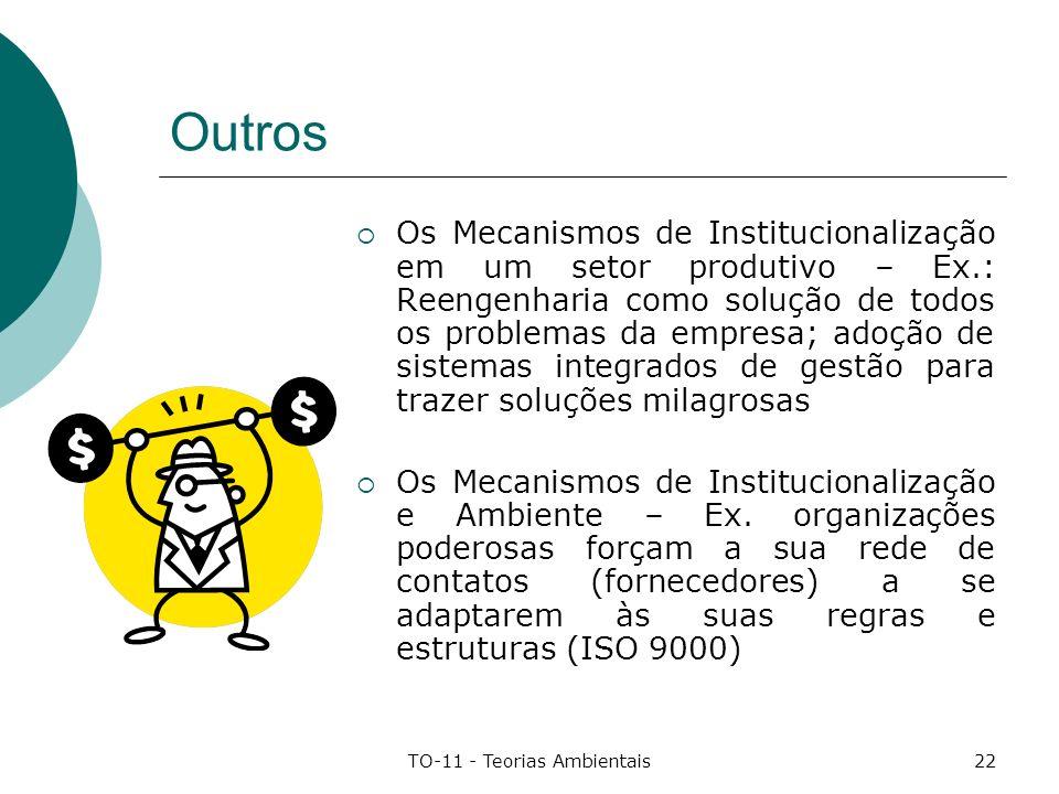 TO-11 - Teorias Ambientais22 Outros Os Mecanismos de Institucionalização em um setor produtivo – Ex.: Reengenharia como solução de todos os problemas