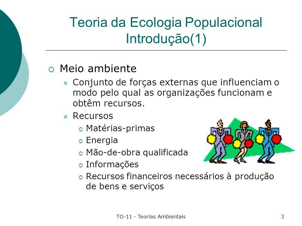 TO-11 - Teorias Ambientais4 Teoria da Ecologia Populacional Introdução(2) Ambiente de Tarefa Agentes Econômicos, fornecedores, clientes e outras organizações, constituem o ambiente de tarefa da organização.