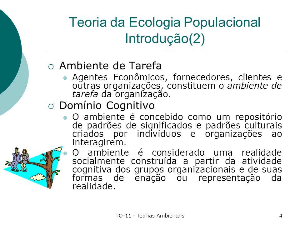 TO-11 - Teorias Ambientais4 Teoria da Ecologia Populacional Introdução(2) Ambiente de Tarefa Agentes Econômicos, fornecedores, clientes e outras organ