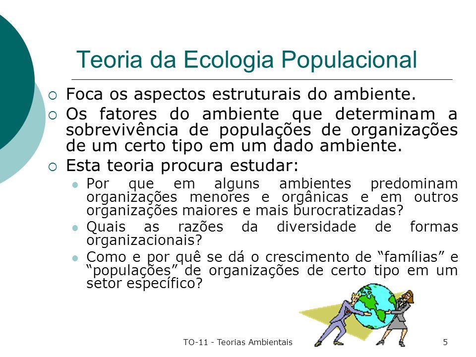 TO-11 - Teorias Ambientais6 Características da Ecologia Populacional (1) Essa teoria foi elaborada utilizando como base a teoria de Darwin sobre a seleção das espécies: Mostra como são as características estruturais de um ecossistema que seleciona as espécies mais aptas à sobrevivência nesse ambiente, dadas suas características biológicas de base; Selecionadas pelo ambiente, essas espécies se reproduzem e sua população aumenta; Quando as características estruturais do ambiente se transformam, outras espécies, com outras características biológicas pode tornar-se mais aptas a sobreviver nesse novo ambiente e a população anterior pode diminuir até desaparecer