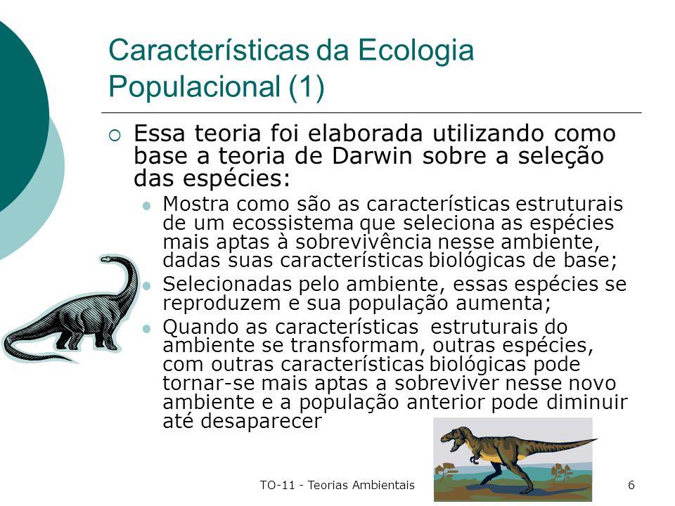 TO-11 - Teorias Ambientais6 Características da Ecologia Populacional (1) Essa teoria foi elaborada utilizando como base a teoria de Darwin sobre a sel