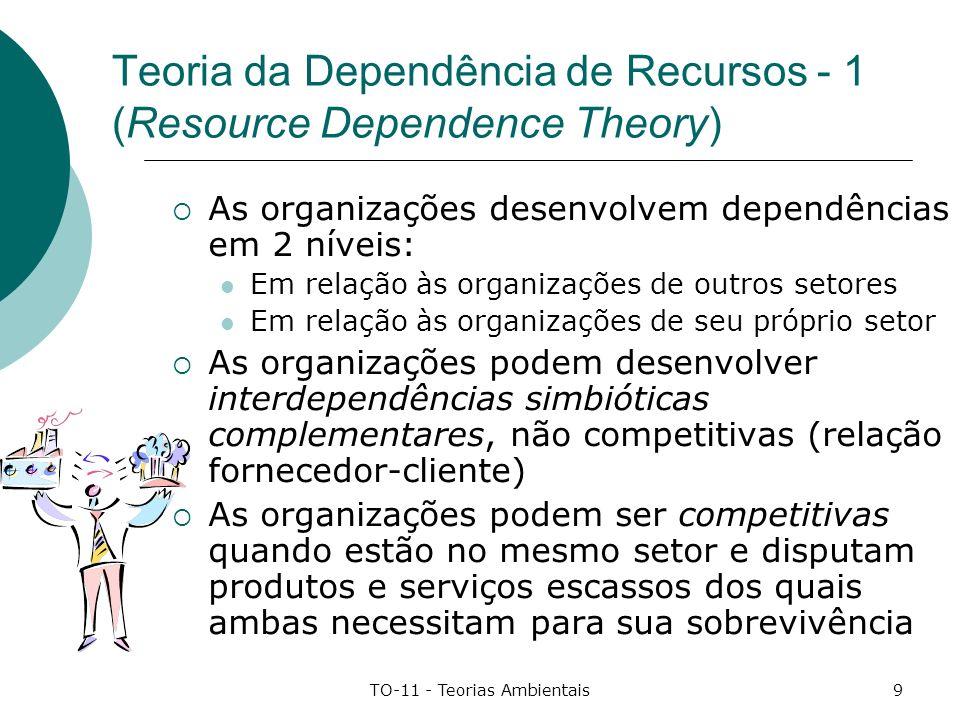 TO-11 - Teorias Ambientais10 Teoria da Dependência de Recursos - 2 (Resource Dependence Theory) Vínculos interorganizacionais implicam em negociação e concessão logo perda da relativa liberdade.