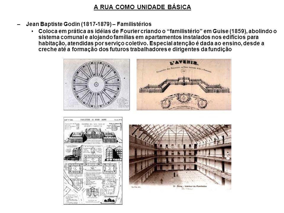 –Jean Baptiste Godin (1817-1879) – Familistérios Coloca em prática as idéias de Fourier criando o familistério em Guise (1859), abolindo o sistema com