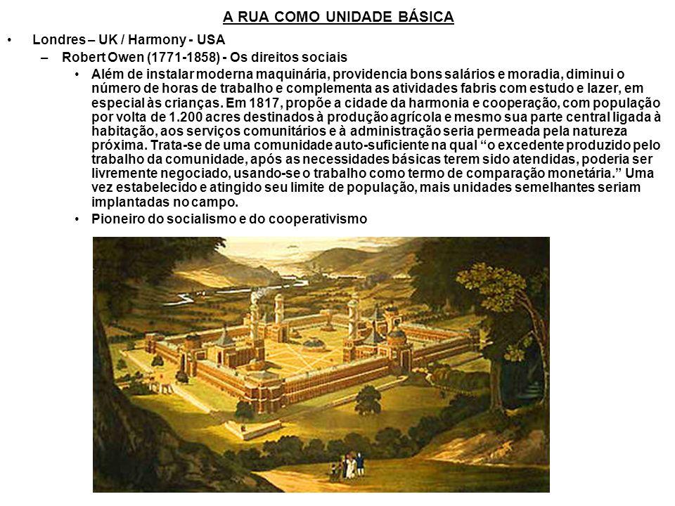 A RUA COMO UNIDADE BÁSICA Londres – UK / Harmony - USA –Robert Owen (1771-1858) - Os direitos sociais Além de instalar moderna maquinária, providencia