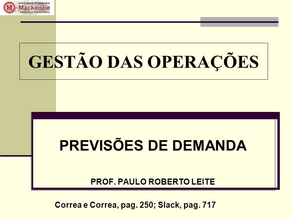 GESTÃO DAS OPERAÇÕES PREVISÕES DE DEMANDA PROF. PAULO ROBERTO LEITE Correa e Correa, pag. 250; Slack, pag. 717