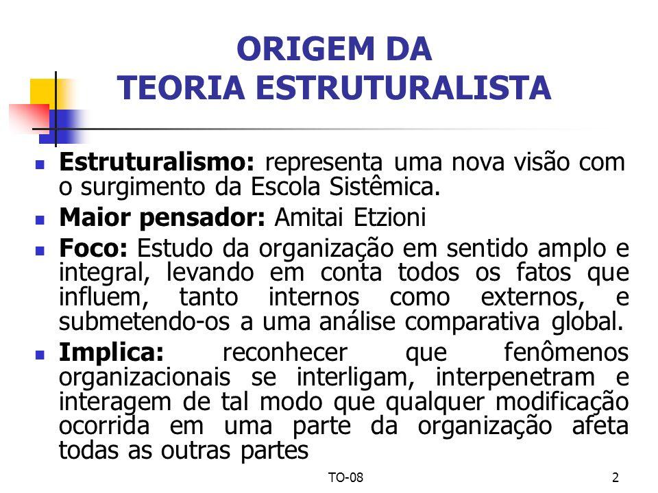 TO-082 ORIGEM DA TEORIA ESTRUTURALISTA Estruturalismo: representa uma nova visão com o surgimento da Escola Sistêmica. Maior pensador: Amitai Etzioni