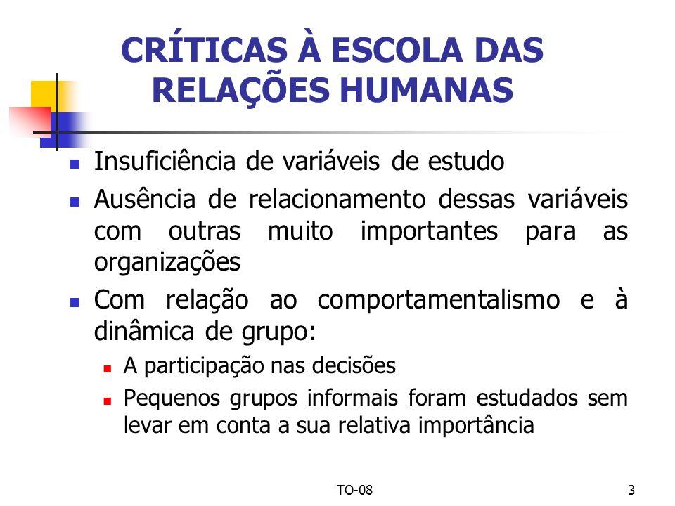 TO-083 CRÍTICAS À ESCOLA DAS RELAÇÕES HUMANAS Insuficiência de variáveis de estudo Ausência de relacionamento dessas variáveis com outras muito import