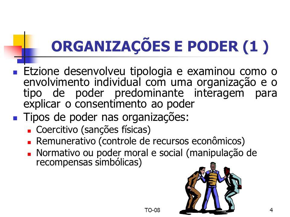 TO-084 ORGANIZAÇÕES E PODER (1 ) Etzione desenvolveu tipologia e examinou como o envolvimento individual com uma organização e o tipo de poder predomi