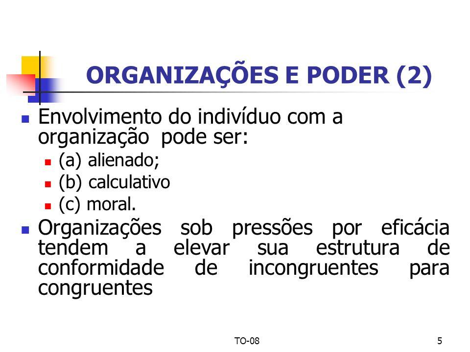 TO-085 ORGANIZAÇÕES E PODER (2) Envolvimento do indivíduo com a organização pode ser: (a) alienado; (b) calculativo (c) moral. Organizações sob pressõ