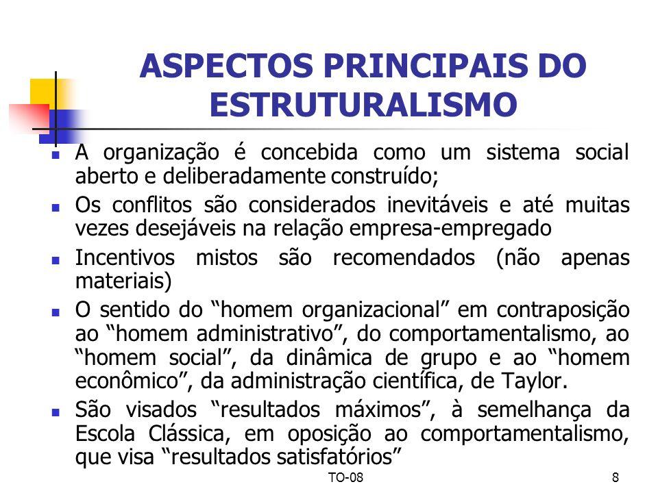 TO-088 ASPECTOS PRINCIPAIS DO ESTRUTURALISMO A organização é concebida como um sistema social aberto e deliberadamente construído; Os conflitos são co