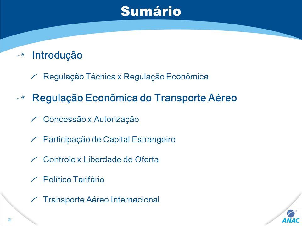 3 Introdução Distinção entre Regulação Técnica e Regulação Econômica Regulação Técnica Relacionada à segurança operacional do transporte aéreo e da infra-estrutura aeroportuária Regulação Econômica Migração de um Estado Provedor para um Estado Regulador Intervenção do estado visando corrigir falhas de mercado