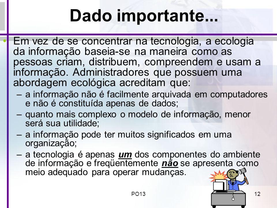 PO1312 Dado importante... Em vez de se concentrar na tecnologia, a ecologia da informação baseia-se na maneira como as pessoas criam, distribuem, comp