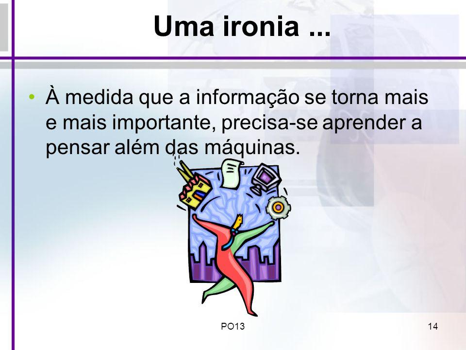 PO1314 Uma ironia... À medida que a informação se torna mais e mais importante, precisa-se aprender a pensar além das máquinas.