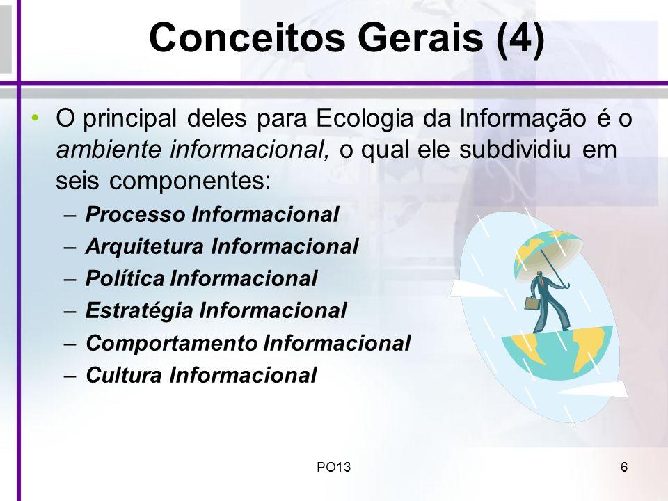 PO137 Descrição dos componentes do ambiente informacional sob prisma da Ecologia da Informação (1) Estratégia Informacional – define: –os tipos de informação a serem priorizados pela empresa; –os passos do ciclo de gerenciamento do conhecimento a serem enfatizados; –como a informação será útil para a empresa;