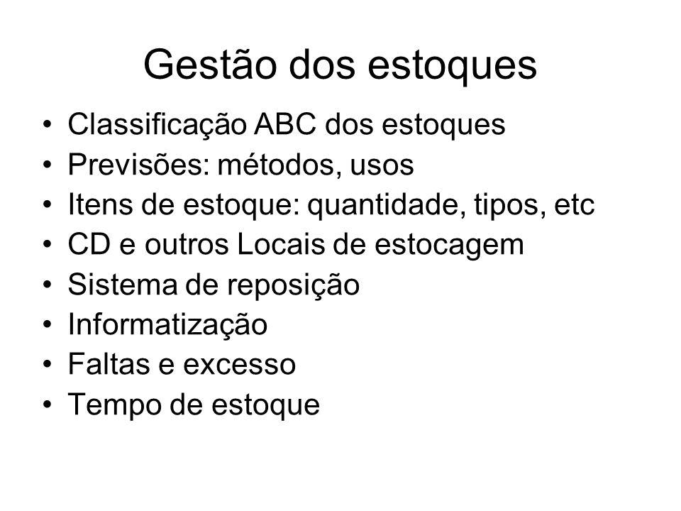 Gestão dos estoques Classificação ABC dos estoques Previsões: métodos, usos Itens de estoque: quantidade, tipos, etc CD e outros Locais de estocagem S