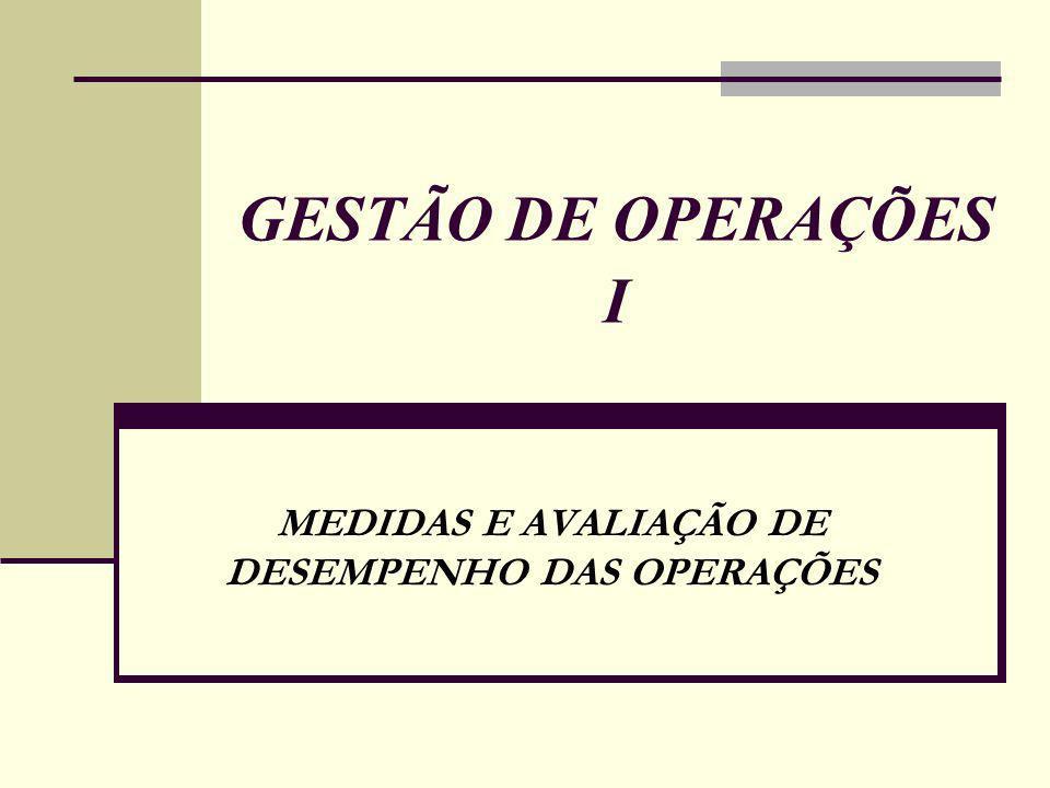 GESTÃO DE OPERAÇÕES I MEDIDAS E AVALIAÇÃO DE DESEMPENHO DAS OPERAÇÕES