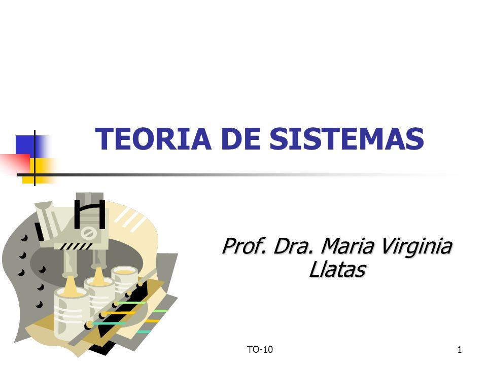 TO-101 TEORIA DE SISTEMAS Prof. Dra. Maria Virginia Llatas