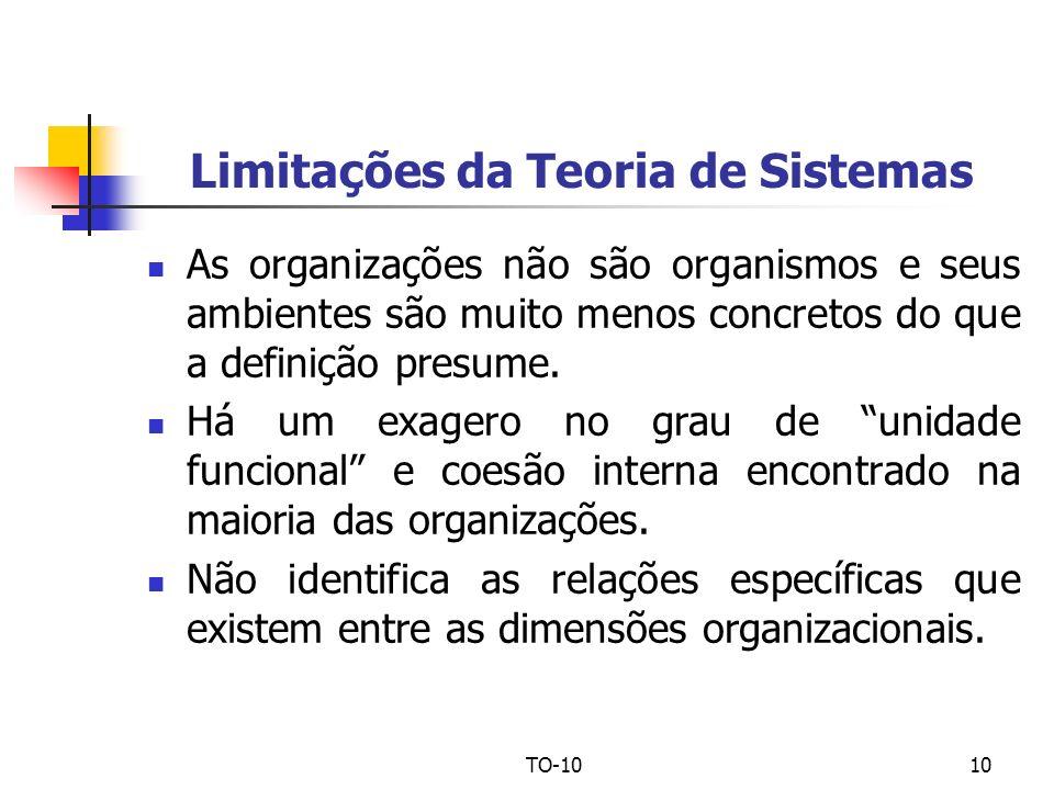 TO-1010 Limitações da Teoria de Sistemas As organizações não são organismos e seus ambientes são muito menos concretos do que a definição presume. Há