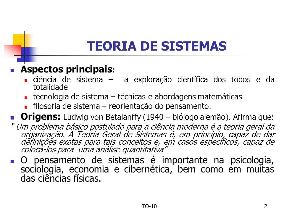 TO-102 TEORIA DE SISTEMAS Aspectos principais : ciência de sistema – a exploração científica dos todos e da totalidade tecnologia de sistema – técnica