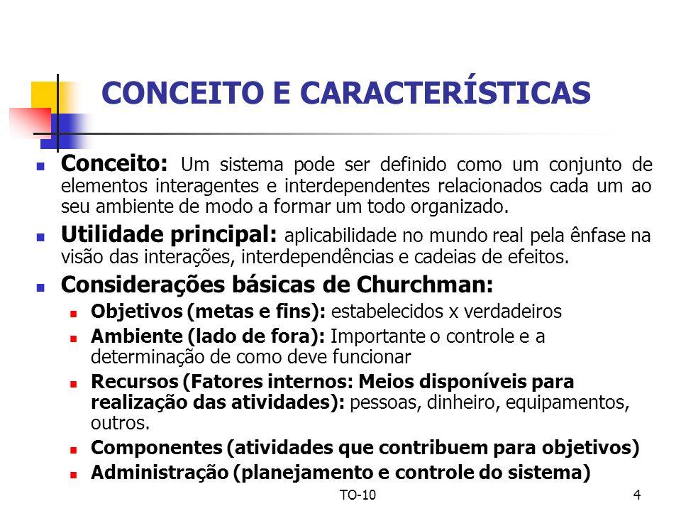 TO-104 CONCEITO E CARACTERÍSTICAS Conceito: Um sistema pode ser definido como um conjunto de elementos interagentes e interdependentes relacionados ca