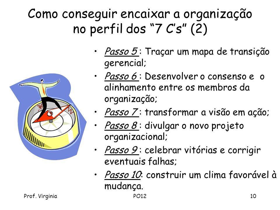 Prof. VirginiaPO1210 Como conseguir encaixar a organização no perfil dos 7 Cs (2) Passo 5 : Traçar um mapa de transição gerencial; Passo 6 : Desenvolv