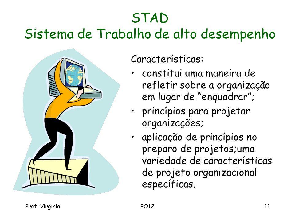 Prof. VirginiaPO1211 STAD Sistema de Trabalho de alto desempenho Características: constitui uma maneira de refletir sobre a organização em lugar de en