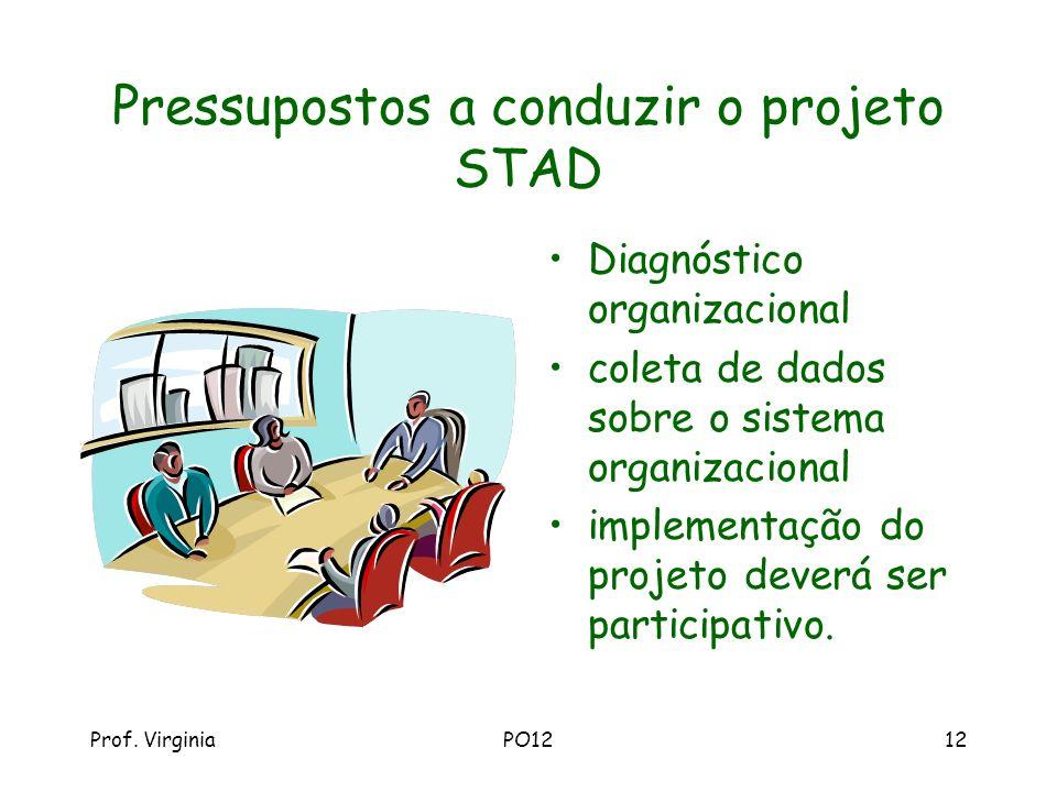 Prof. VirginiaPO1212 Pressupostos a conduzir o projeto STAD Diagnóstico organizacional coleta de dados sobre o sistema organizacional implementação do