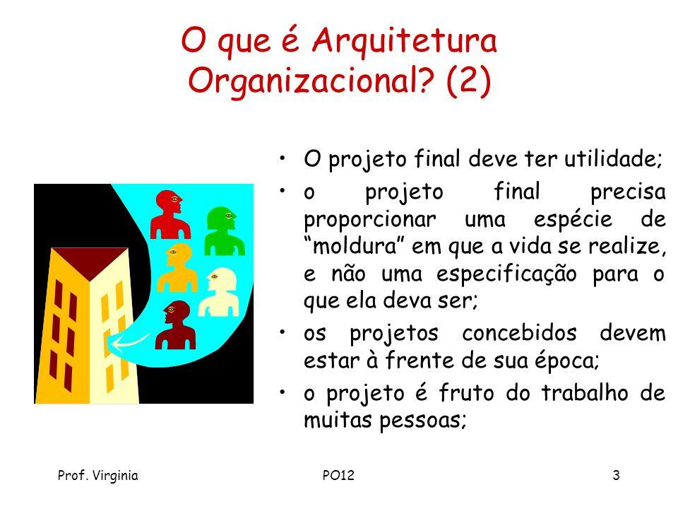 Prof. VirginiaPO123 O que é Arquitetura Organizacional? (2) O projeto final deve ter utilidade; o projeto final precisa proporcionar uma espécie de mo