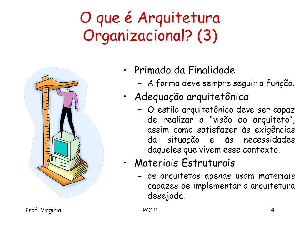 Prof. VirginiaPO124 O que é Arquitetura Organizacional? (3) Primado da Finalidade –A forma deve sempre seguir a função. Adequação arquitetônica –O est
