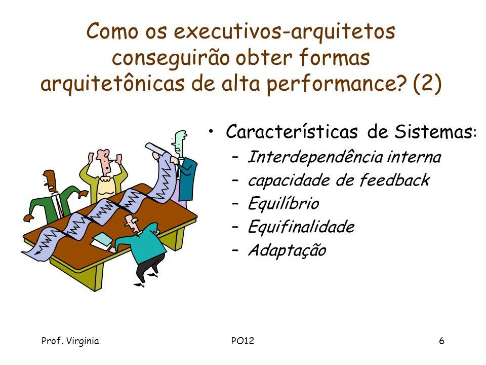 Prof. VirginiaPO126 Como os executivos-arquitetos conseguirão obter formas arquitetônicas de alta performance? (2) Características de Sistemas : –Inte